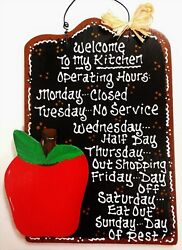 APPLE Kitchen Operating Hours SIGN Wall Art Fruit Hanger PLAQUE Country Decor $14.45