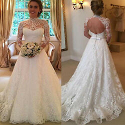 Women Wedding Dress Bridal Formal Gown Lace Long Sleeve Backless Maxi Dresses US