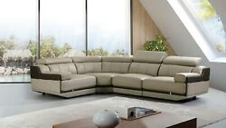 4PC Light Gray Taupe Italian Top-Grain Leather Chairs Corner Sectional Set