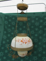 Antique Victorian Hanging Oil Lamp with Matching Painted Floral Font amp; Shade $325.00