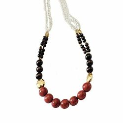 Red Coral Wood Beads Porcelain and Gold Plated Metal Beads Necklace