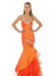 Precious Formals Orange Prom Dress With Lace Up Back 6 fits Sizes 4 8