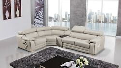 4PC Light Gray Italian Top-Grain Leather Sofa Chaise Corner Table Sectional Set
