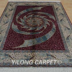 YILONG 5'x7.5' Persian Silk Handknotted Carpet Whirlwind Home Decor Rug 0807