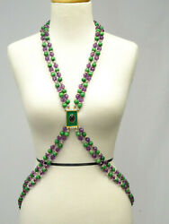 RUNWAY VALENTINO COUTURE ENAMEL POURED GLASS RHINESTONE PENDANT HARNESS NECKLACE
