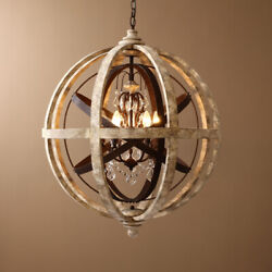 Weathered Wooden Globe Small Chandelier Bedroom Entryway Ceiling Pendant Light $155.09
