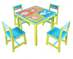 Kid's Table and  Four Chairs Set Pine Wood And Medium Density Fiberboard