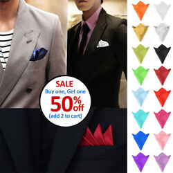 Men#x27;s Satin Silk Pocket Square Hankie Hankerchief Wedding Party Formal Suit New $1.79