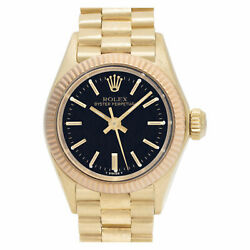 Rolex Oyster Perpetual 6802 18k Black dial 25mm auto watch