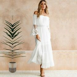 Women Off Shoulder Lace Decor Full Sleeve Elegant Party Wear Long Dress $25.99