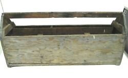 Wooden Carpenter's Tool Box Caddy Home Decor Art LARGE Vintage Rustic Primitive