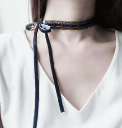 Women Lace Velvet Collarbone Green Black Necklace hollow Choker Jewelry Gift