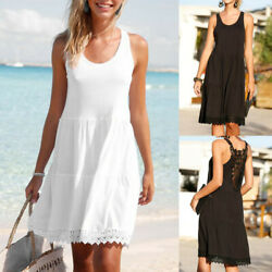 2019 Womens Girls Summer Chiffon Lace Sleeveless Beach Loose Casual Mini Dress
