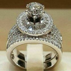 2PCS 3.64CT Huge White Sapphire Gemstone Wedding Ring 925 Silver Jewelry Sz 5-10