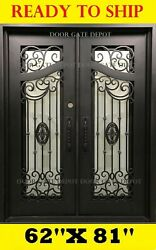 STRAIGHT TOP WROUGHT IRON FRONT ENTRY DOORS TEMPERED GLASS 62''X81'' DGD1080