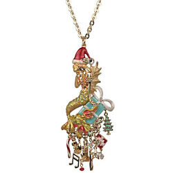 NEW KIRKS FOLLY  DREAMY CHRISTMAS MERMAID NECKLACE GOLDTONE