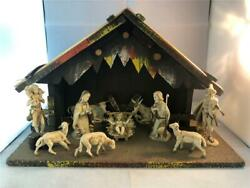 Made in Italy Vintage 10 pc. Nativity Set in wooden creche 13 14