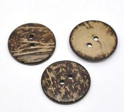 10 Large Wooden Buttons - 1.5 inch - 38mm - Wood Buttons -  Coconut Wood B13837