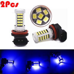 2Pcs H8 H11 2835 Car 66 SMD LED Fog Light Bulbs DRL Super 8000K 12V Blue Lamp