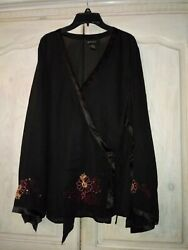 Lane Bryan Womens Plus Size Black Embroidered Sheer Top Size 1820