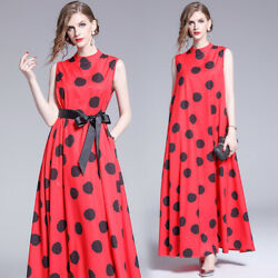 womens red sleeveless dots belt runway loose Casual party beach long maxi dress $23.99