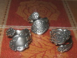 Lot Of 3 Vintage Antique Style Adjustable Silver Spoon Rings Sizes 6 10 $23.00