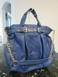 Olivia + Joy New York Blue Faux Leather Satchel Bag w Chain Strap