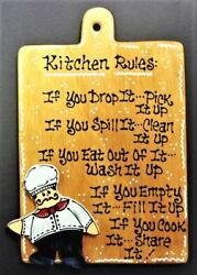FAT CHEF KITCHEN RULES SIGN Wall Art Hanger Plaque Cucina Bistro Decor $14.45