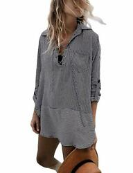 Ailunsnika Casual Swimsuit Cover Up For Women Loose Beach Bikini Dress $49.44