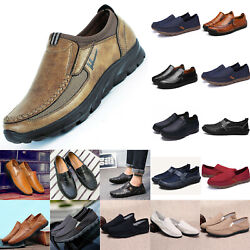 Mens Slip On Canvas Faux Leather Casual Driving Shoes Loafers Moccasins Trainers