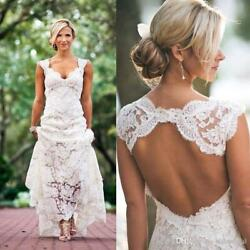 2019 Sexy Backless Lace Wedding Dresses Bohemian Boho Beach Bridal Gown V neck
