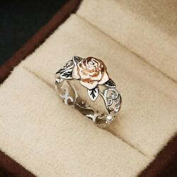 Vintage Alloy Openwork Ring Women's Silver Plated Rose Engraving Ring Size 4-12