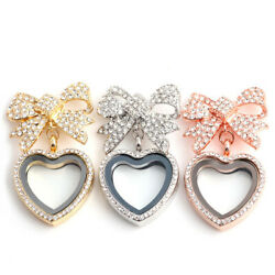 DIY Living Memory Floating Charm Glass Bowknot Heart Locket Pendant Necklace $3.85