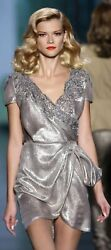 GORGEOUS CHRISTIAN DIOR SILVER METALLIC LAME LACE BEADED RUNWAY DRESS IT 44  US8