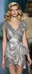 GORGEOUS CHRISTIAN DIOR SILVER METALLIC LAME LACE BEADED RUNWAY DRESS IT 40  US4