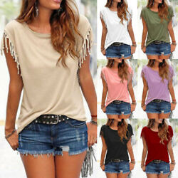 Plus Size Women Tassels Blouse Short Sleeve Summer Beach Scoop Neck T-Shirt Tops $11.99