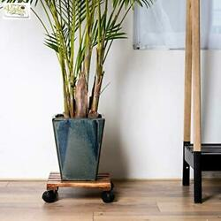 2 Pack Plant Caddy Wooden Stand Wheels Indoor 12 Inch