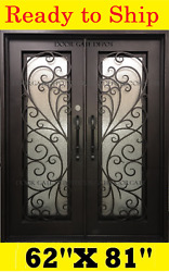 STRAIGHT TOP WROUGHT IRON FRONT ENTRY DOORS TEMPERED GLASS 62''X81'' DGD1100
