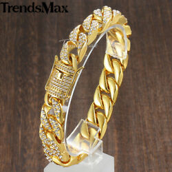 Men Gold Filled Miami Cuban Link Bracelet Chain Pave Rhinestone Hip Hop Jewelry