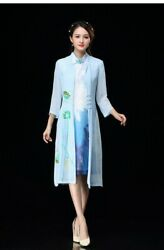 Women#x27;s Traditional Chinese Oriental Style Elegant Floral Hand painted cardigan $49.98