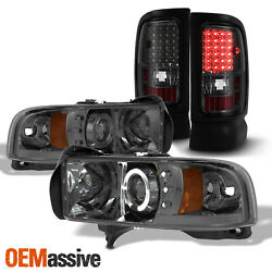 Fits 94-01 Ram 150025003500 Smoked Dual Halo Projector Headlights+LED Tail
