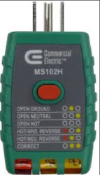New Commercial Electric 398469 GFCI 125VAC Outlet Circuit Tester MS102H $12.59