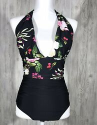 CUPSHE Swimsuit One Piece BLACK Floral NEW WITH TAGS size Small $16.99