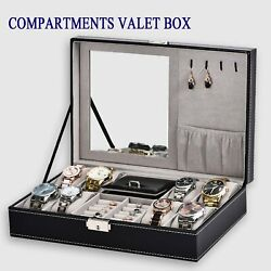 Men's 8 Compartment Valet Jewelry Box Mens Dresser Wallet Tray Office Organizer