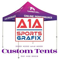 2 Custom Printed EZ Pop Up Tent Replacement Covers 10 x 10 W Full Color Graphics $634.90