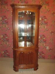 Lighted Corner China Hutch Cabinet Tell City Chair Company Oak Wood