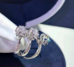 Gorgeous Round Cut White Sapphire Flower Ring 925 Silver Bride Wedding Jewelry