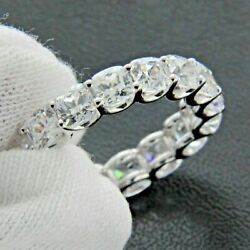 4.20CT CUSHION CUT DIAMOND FULL ETERNITY BAND 14K WHITE GOLD WEDDING RING