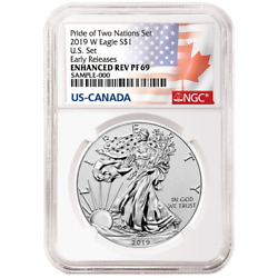 2019-W Reverse Proof $1 American Silver Eagle NGC PF69UC ER Flags Label Pride of