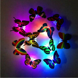 20 Pcs Colorful Changing Butterfly LED Night Light Lamp Room Party Desk Wall Dec $5.79